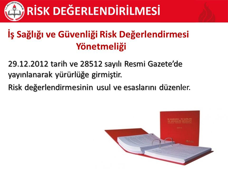 29.12.2012 tarih ve 28512 sayılı Resmi Gazete'de yayınlanarak yürürlüğe girmiştir. Risk değerlendirmesinin usul ve esaslarını düzenl Risk değerlendirm