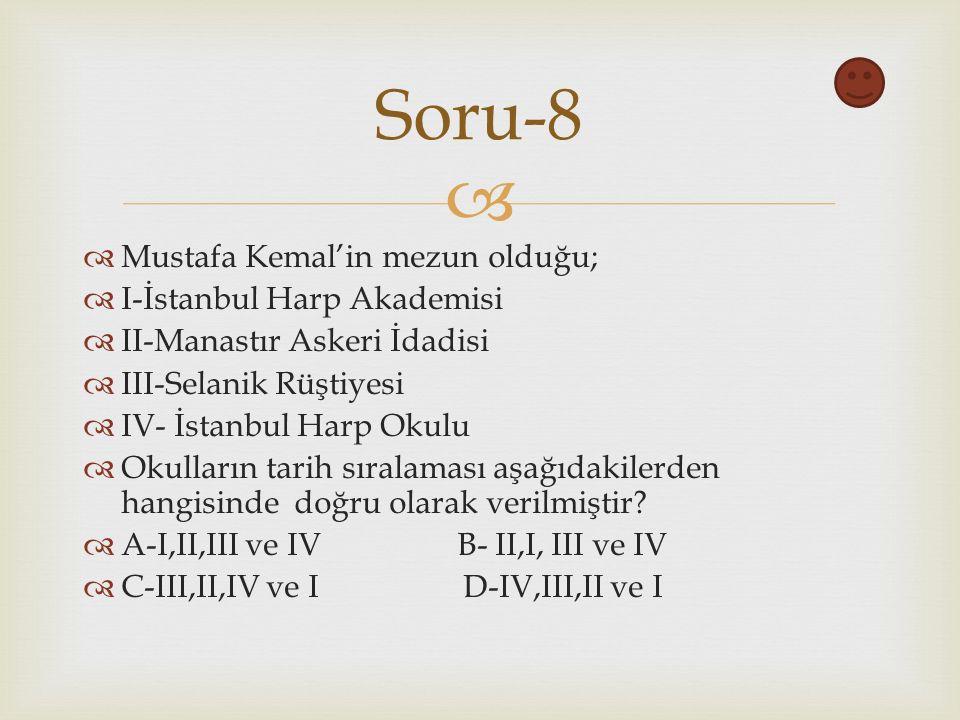   Mustafa Kemal'in mezun olduğu;  I-İstanbul Harp Akademisi  II-Manastır Askeri İdadisi  III-Selanik Rüştiyesi  IV- İstanbul Harp Okulu  Okulların tarih sıralaması aşağıdakilerden hangisinde doğru olarak verilmiştir.