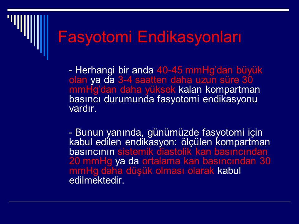 Fasyotomi Endikasyonları - Herhangi bir anda 40-45 mmHg'dan büyük olan ya da 3-4 saatten daha uzun süre 30 mmHg'dan daha yüksek kalan kompartman basıncı durumunda fasyotomi endikasyonu vardır.
