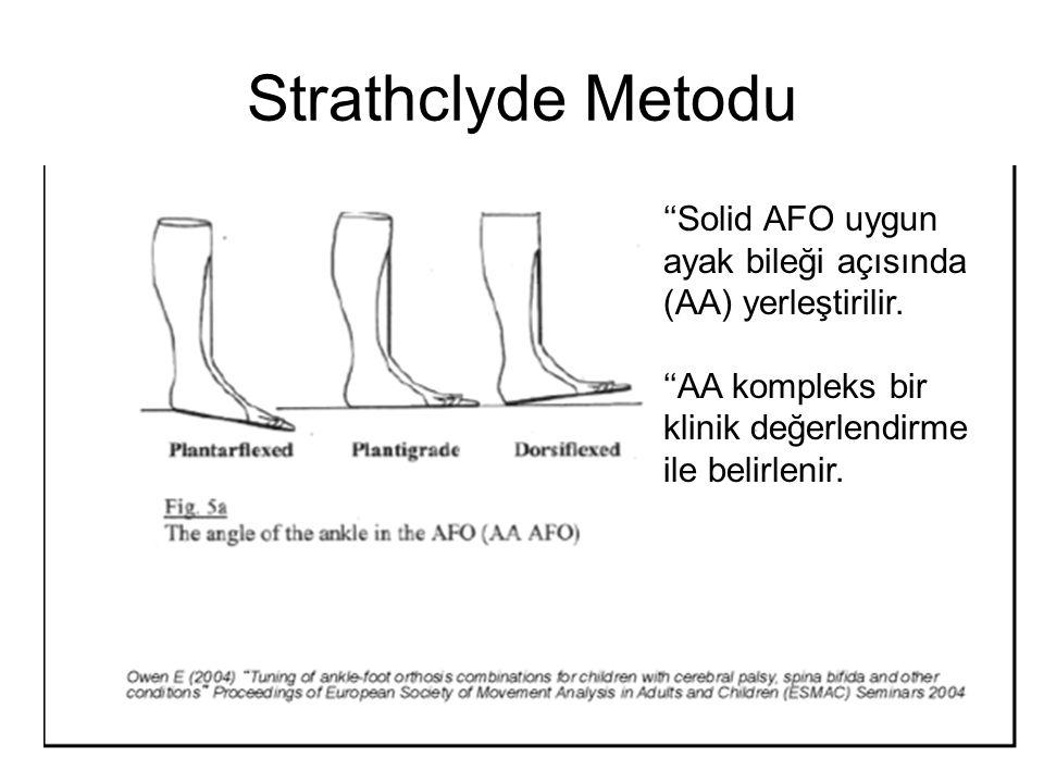 Strathclyde Metodu ''Solid AFO uygun ayak bileği açısında (AA) yerleştirilir. ''AA kompleks bir klinik değerlendirme ile belirlenir.
