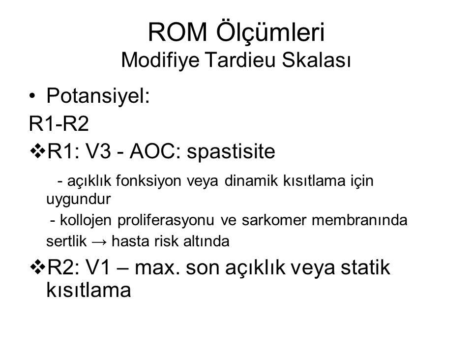 ROM Ölçümleri Modifiye Tardieu Skalası Potansiyel: R1-R2  R1: V3 - AOC: spastisite - açıklık fonksiyon veya dinamik kısıtlama için uygundur - kolloje