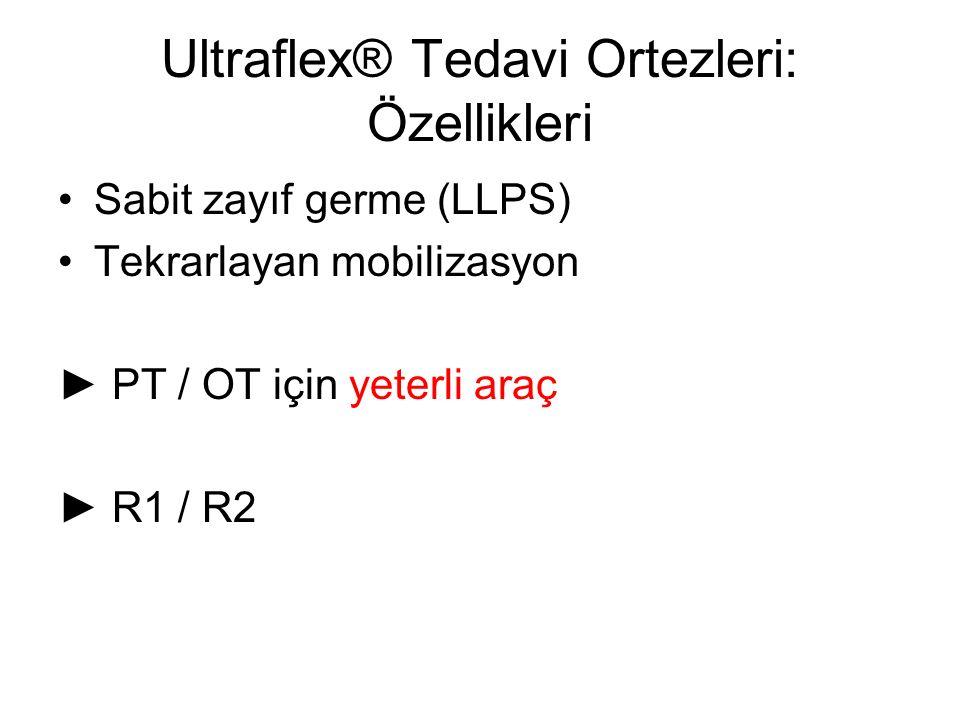 Ultraflex® Tedavi Ortezleri: Özellikleri Sabit zayıf germe (LLPS) Tekrarlayan mobilizasyon ► PT / OT için yeterli araç ► R1 / R2