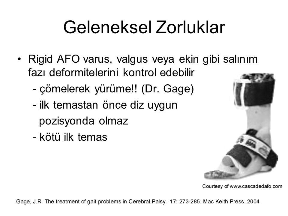 Geleneksel Zorluklar Rigid AFO varus, valgus veya ekin gibi salınım fazı deformitelerini kontrol edebilir - çömelerek yürüme!! (Dr. Gage) - ilk temast