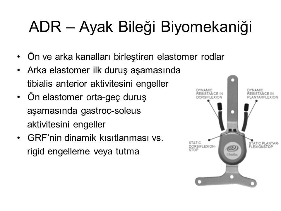 ADR – Ayak Bileği Biyomekaniği Ön ve arka kanalları birleştiren elastomer rodlar Arka elastomer ilk duruş aşamasında tibialis anterior aktivitesini en