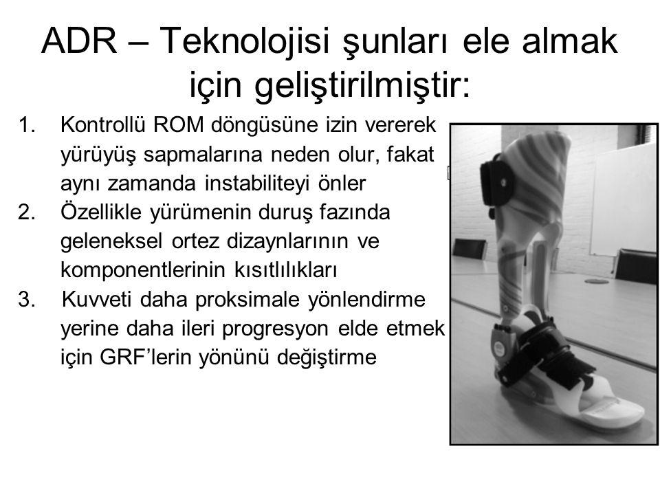 ADR – Teknolojisi şunları ele almak için geliştirilmiştir: 1. Kontrollü ROM döngüsüne izin vererek yürüyüş sapmalarına neden olur, fakat aynı zamanda