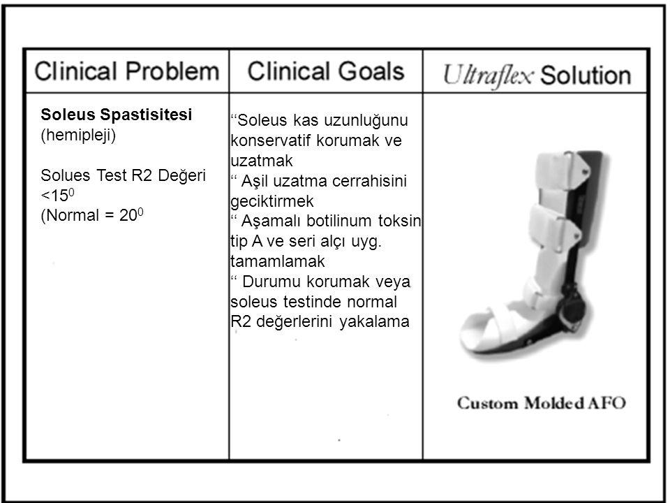 Soleus Spastisitesi (hemipleji) Solues Test R2 Değeri <15 0 (Normal = 20 0 ''Soleus kas uzunluğunu konservatif korumak ve uzatmak '' Aşil uzatma cerra