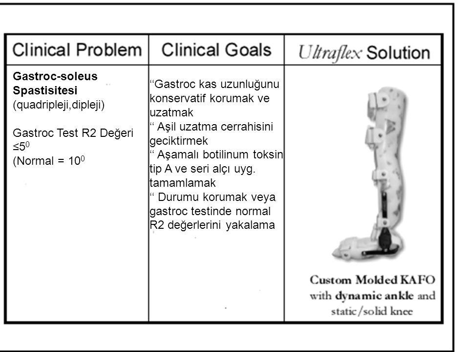 Gastroc-soleus Spastisitesi (quadripleji,dipleji) Gastroc Test R2 Değeri ≤5 0 (Normal = 10 0 ''Gastroc kas uzunluğunu konservatif korumak ve uzatmak '