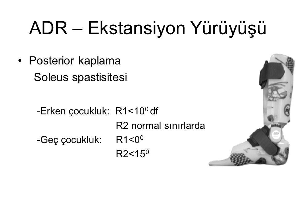 ADR – Ekstansiyon Yürüyüşü Posterior kaplama Soleus spastisitesi -Erken çocukluk: R1<10 0 df R2 normal sınırlarda -Geç çocukluk: R1<0 0 R2<15 0