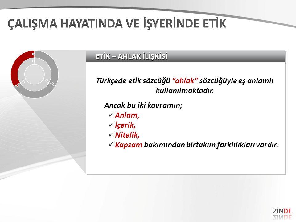 """ETİK – AHLAK İLİŞKİSİ Türkçede etik sözcüğü """"ahlak"""" sözcüğüyle eş anlamlı kullanılmaktadır. Ancak bu iki kavramın; Anlam, İçerik, Nitelik, Kapsam bakı"""
