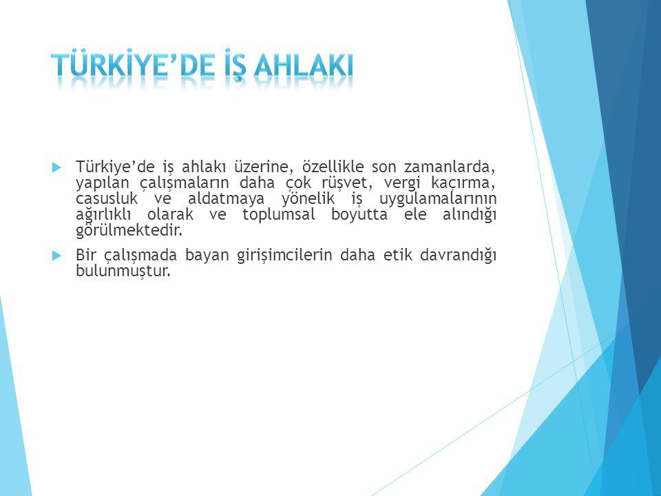  Türkiye'de iş ahlakı üzerine, özellikle son zamanlarda, yapılan çalışmaların daha çok rüşvet, vergi kaçırma, casusluk ve aldatmaya yönelik iş uygulamalarının ağırlıklı olarak ve toplumsal boyutta ele alındığı görülmektedir.