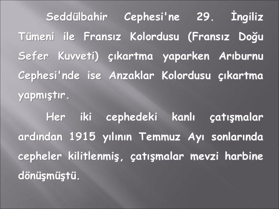 Seddülbahir Cephesi'ne 29. İngiliz Tümeni ile Fransız Kolordusu (Fransız Doğu Sefer Kuvveti) çıkartma yaparken Arıburnu Cephesi'nde ise Anzaklar Kolor