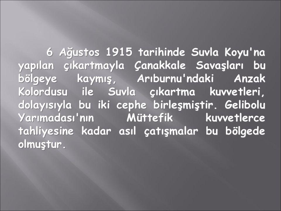 6 Ağustos 1915 tarihinde Suvla Koyu'na yapılan çıkartmayla Çanakkale Savaşları bu bölgeye kaymış, Arıburnu'ndaki Anzak Kolordusu ile Suvla çıkartma ku