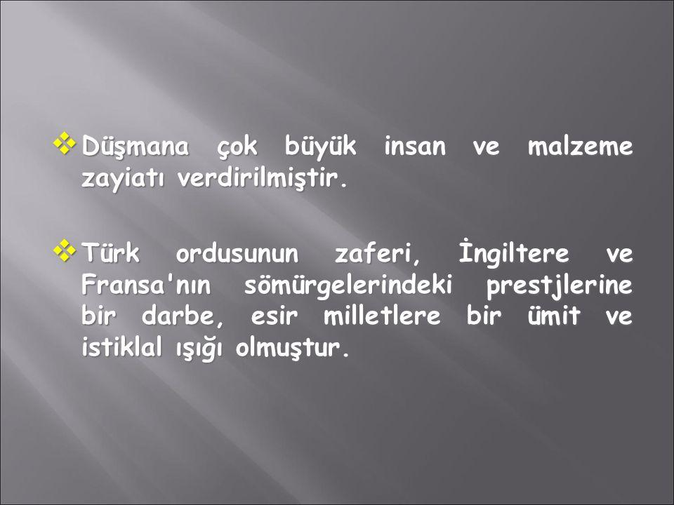  Düşmana çok büyük insan ve malzeme zayiatı verdirilmiştir.  Türk ordusunun zaferi, İngiltere ve Fransa'nın sömürgelerindeki prestjlerine bir darbe,