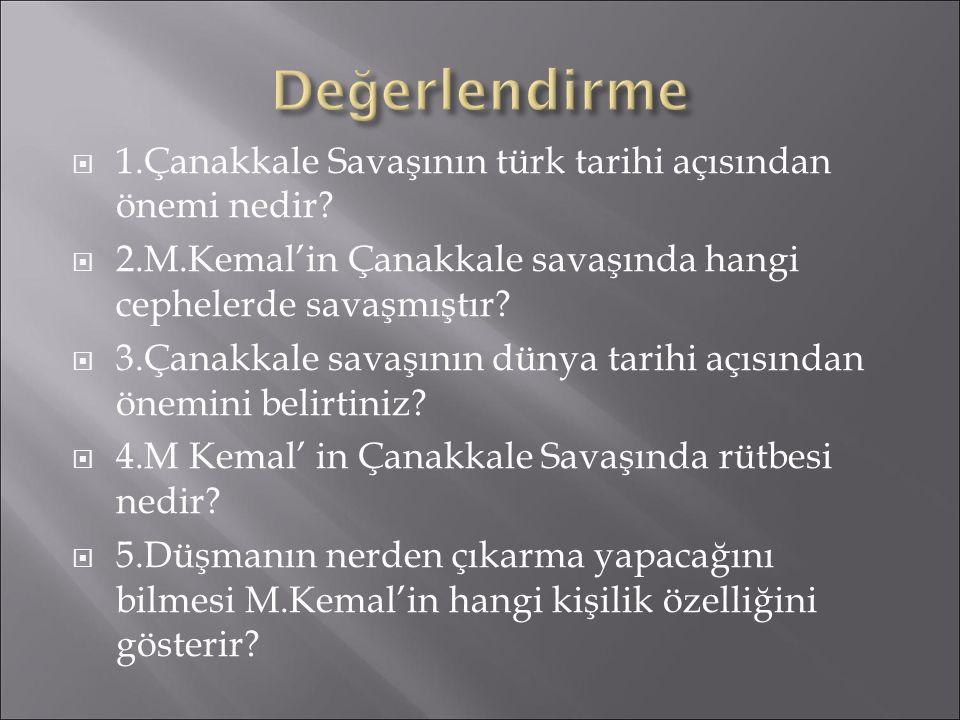  1.Çanakkale Savaşının türk tarihi açısından önemi nedir?  2.M.Kemal'in Çanakkale savaşında hangi cephelerde savaşmıştır?  3.Çanakkale savaşının dü