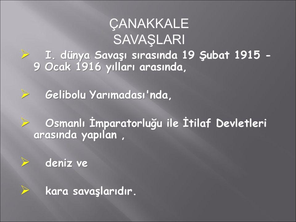  I. dünya Savaşı sırasında 19 Şubat 1915 - 9 Ocak 1916 yılları arasında,  Gelibolu Yarımadası'nda,  Osmanlı İmparatorluğu ile İtilaf Devletleri ara
