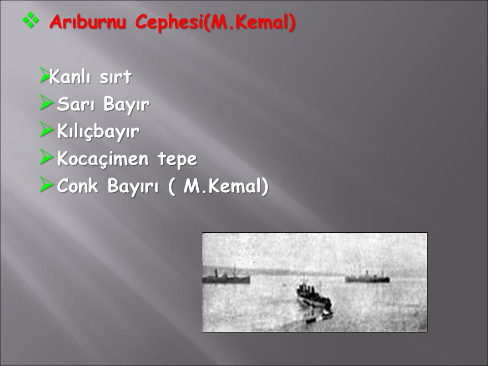  Arıburnu Cephesi(M.Kemal)  Kanlı sırt  Sarı Bayır  Kılıçbayır  Kocaçimen tepe  Conk Bayırı ( M.Kemal)