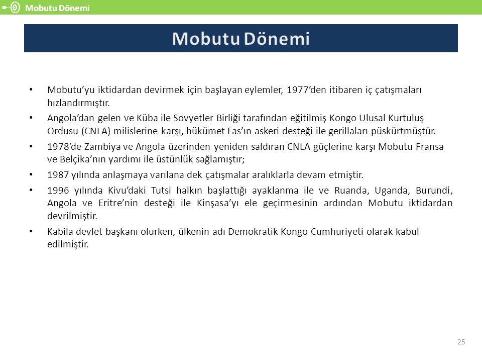 Mobutu Dönemi 25 Mobutu'yu iktidardan devirmek için başlayan eylemler, 1977'den itibaren iç çatışmaları hızlandırmıştır.