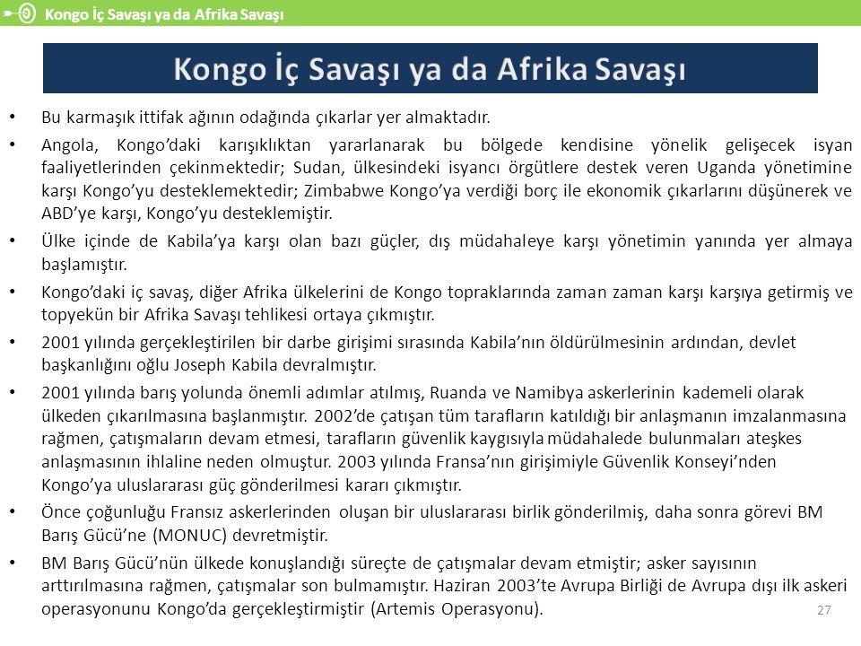 Kongo İç Savaşı ya da Afrika Savaşı 27 Bu karmaşık ittifak ağının odağında çıkarlar yer almaktadır.