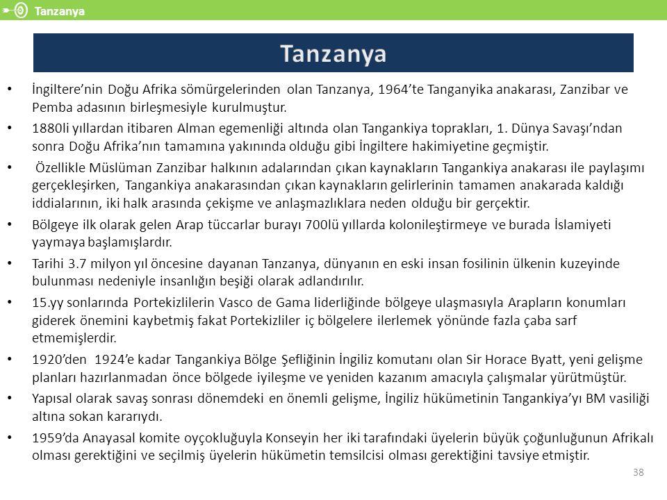 Tanzanya 38 İngiltere'nin Doğu Afrika sömürgelerinden olan Tanzanya, 1964'te Tanganyika anakarası, Zanzibar ve Pemba adasının birleşmesiyle kurulmuştur.
