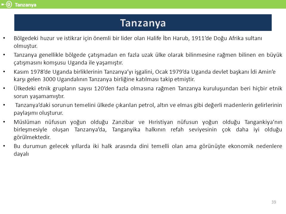 Tanzanya 39 Bölgedeki huzur ve istikrar için önemli bir lider olan Halife İbn Harub, 1911'de Doğu Afrika sultanı olmuştur.