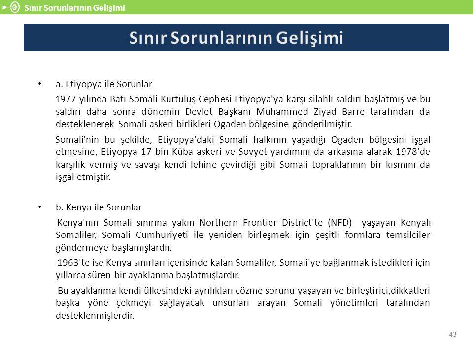 Sınır Sorunlarının Gelişimi 43 a.