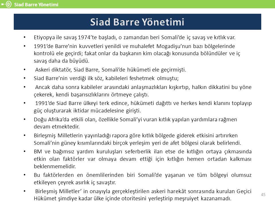 Siad Barre Yönetimi 45 Etiyopya ile savaş 1974'te başladı, o zamandan beri Somali'de iç savaş ve kıtlık var.