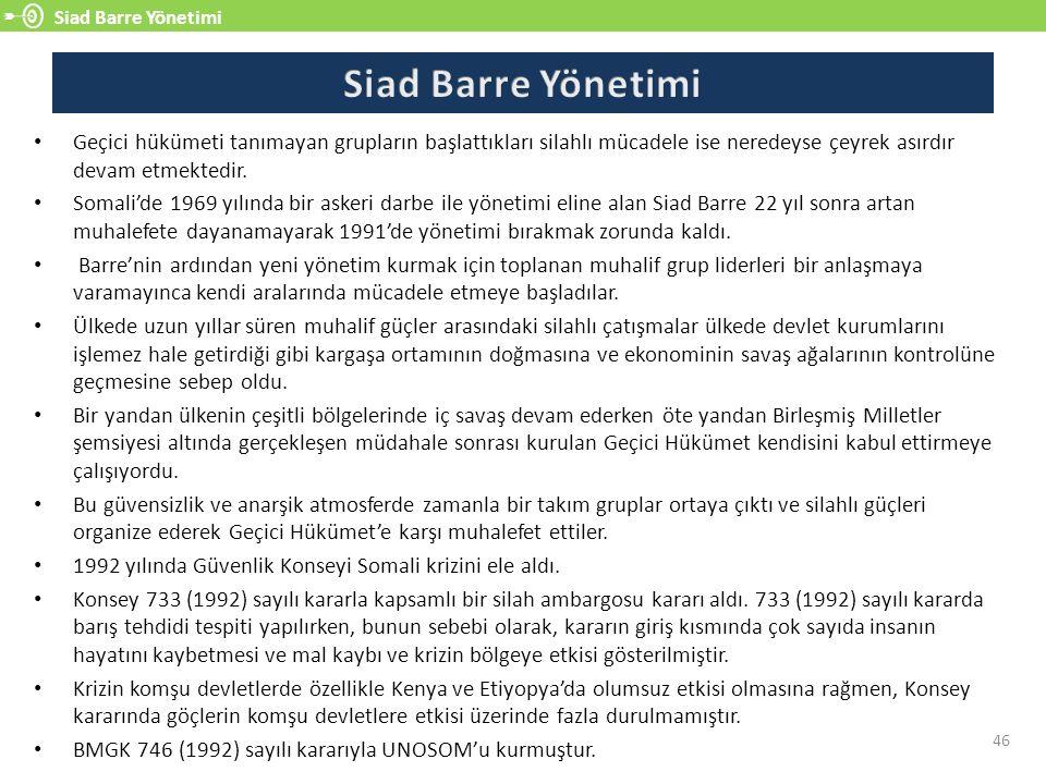 Siad Barre Yönetimi 46 Geçici hükümeti tanımayan grupların başlattıkları silahlı mücadele ise neredeyse çeyrek asırdır devam etmektedir.