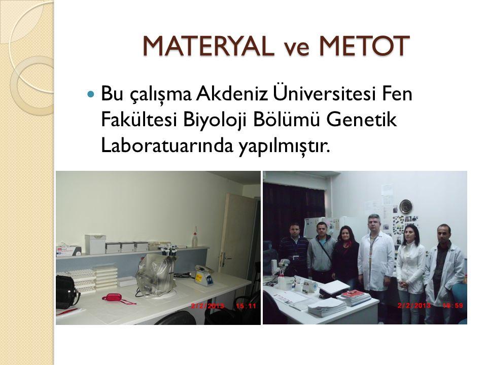 MATERYAL ve METOT Bu çalışma Akdeniz Üniversitesi Fen Fakültesi Biyoloji Bölümü Genetik Laboratuarında yapılmıştır.