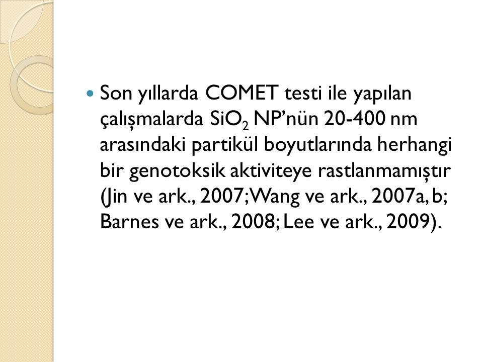 Son yıllarda COMET testi ile yapılan çalışmalarda SiO 2 NP'nün 20-400 nm arasındaki partikül boyutlarında herhangi bir genotoksik aktiviteye rastlanma
