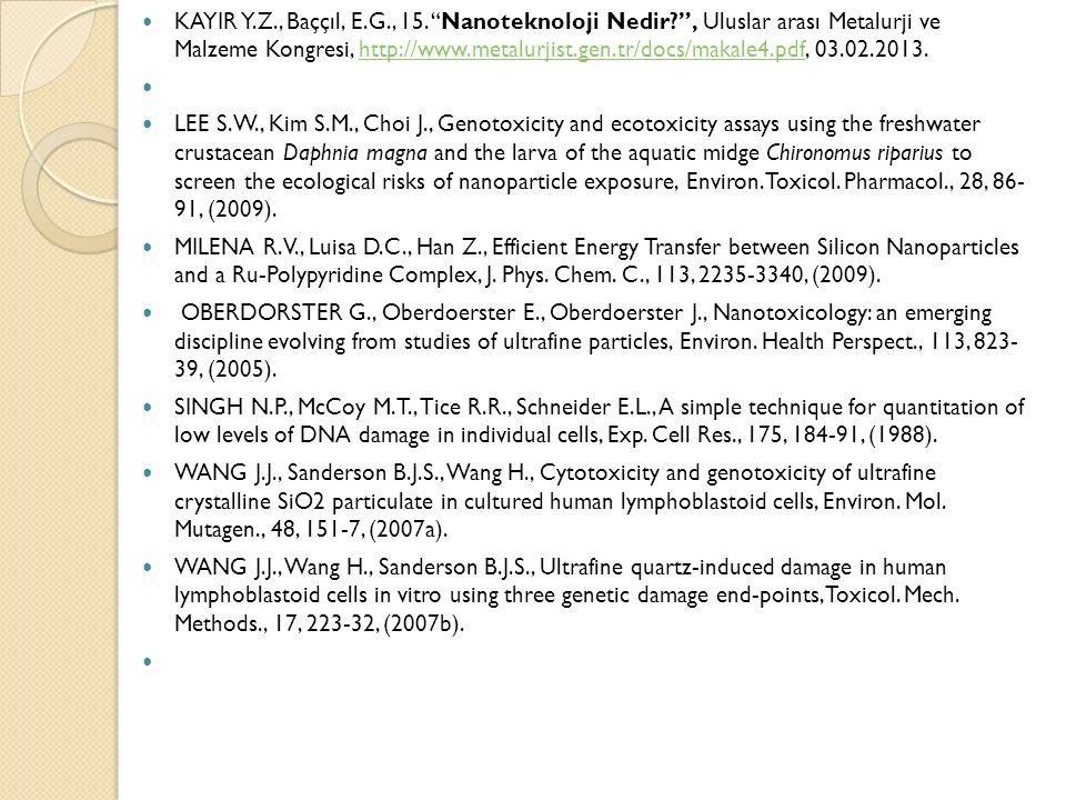 """KAYIR Y.Z., Baççıl, E.G., 15. """"Nanoteknoloji Nedir?"""", Uluslar arası Metalurji ve Malzeme Kongresi, http://www.metalurjist.gen.tr/docs/makale4.pdf, 03."""