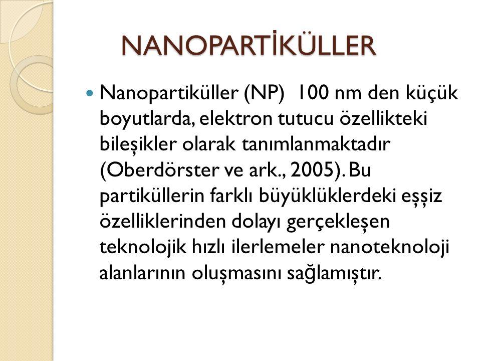 NANOPART İ KÜLLER NANOPART İ KÜLLER Nanopartiküller (NP) 100 nm den küçük boyutlarda, elektron tutucu özellikteki bileşikler olarak tanımlanmaktadır (