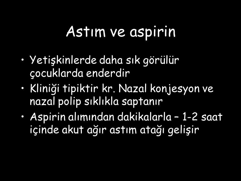 Astım ve aspirin Yetişkinlerde daha sık görülür çocuklarda enderdir Kliniği tipiktir kr. Nazal konjesyon ve nazal polip sıklıkla saptanır Aspirin alım