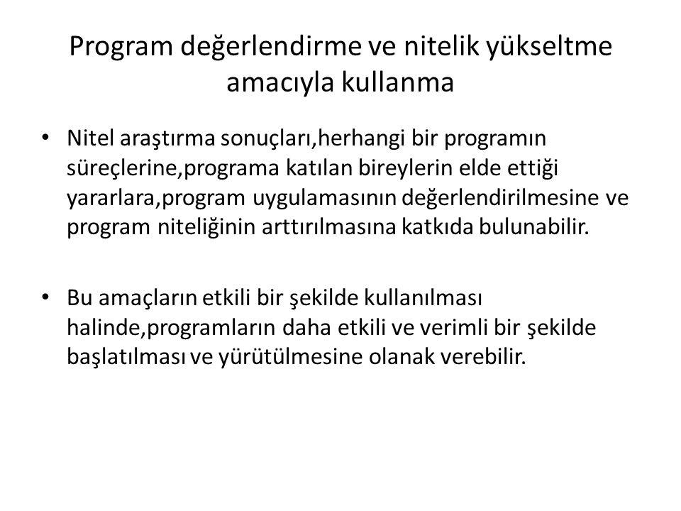 Program değerlendirme ve nitelik yükseltme amacıyla kullanma Nitel araştırma sonuçları,herhangi bir programın süreçlerine,programa katılan bireylerin