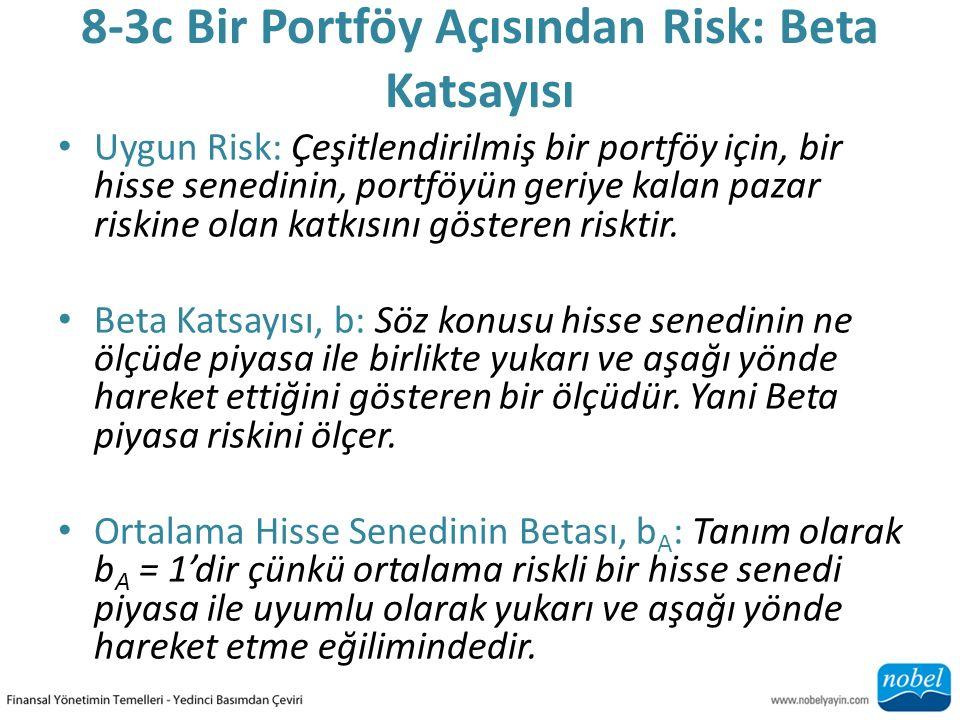 8-3c Bir Portföy Açısından Risk: Beta Katsayısı Uygun Risk: Çeşitlendirilmiş bir portföy için, bir hisse senedinin, portföyün geriye kalan pazar riskine olan katkısını gösteren risktir.