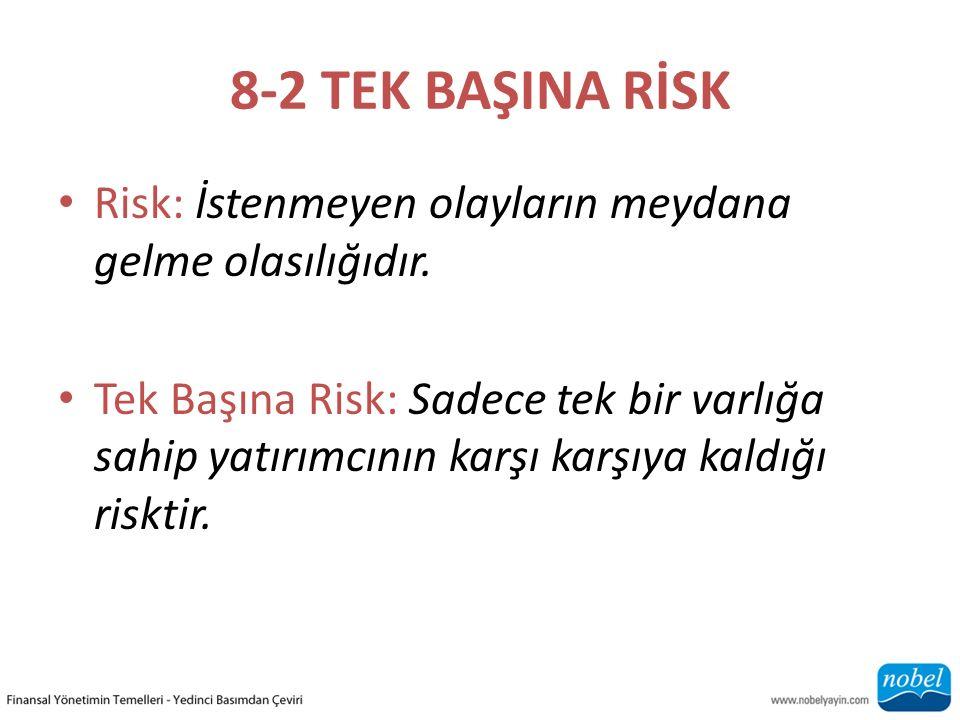 8-2 TEK BAŞINA RİSK Risk: İstenmeyen olayların meydana gelme olasılığıdır.