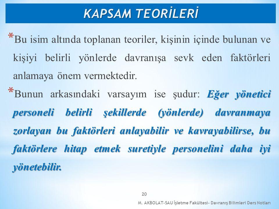 M. AKBOLAT-SAU İşletme Fakültesi- Davranış Bilimleri Ders Notları 20 * Bu isim altında toplanan teoriler, kişinin içinde bulunan ve kişiyi belirli yö