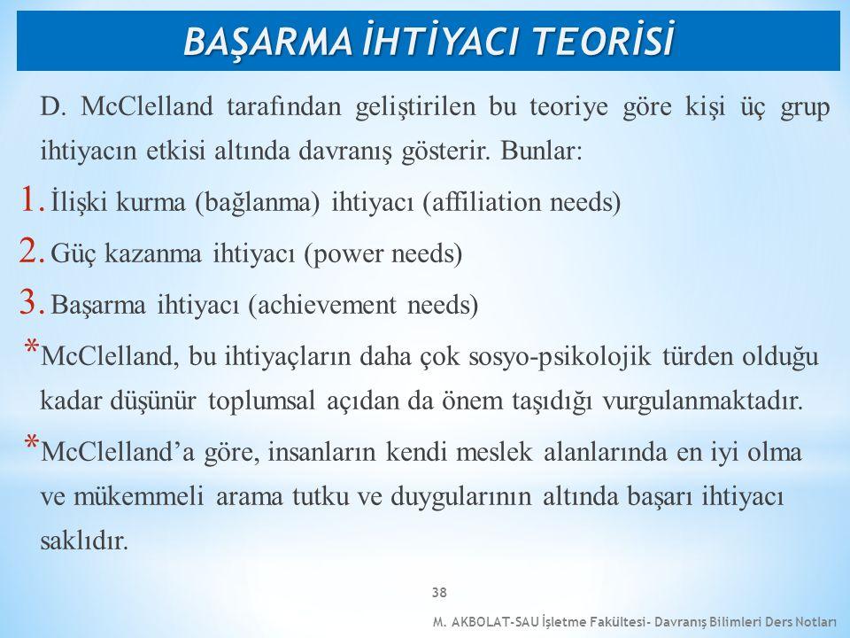 M. AKBOLAT-SAU İşletme Fakültesi- Davranış Bilimleri Ders Notları 38 D. McClelland tarafından geliştirilen bu teoriye göre kişi üç grup ihtiyacın etki