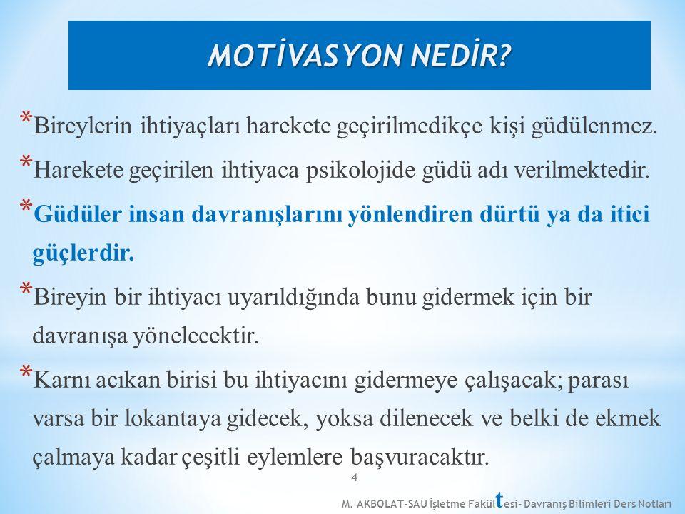M. AKBOLAT-SAU İşletme Fakül t esi- Davranış Bilimleri Ders Notları 4 * Bireylerin ihtiyaçları harekete geçirilmedikçe kişi güdülenmez. * Harekete geç