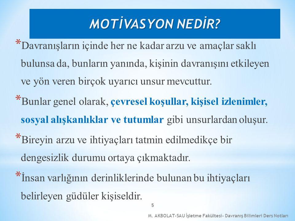 M. AKBOLAT-SAU İşletme Fakültesi- Davranış Bilimleri Ders Notları 5 * Davranışların içinde her ne kadar arzu ve amaçlar saklı bulunsa da, bunların yan