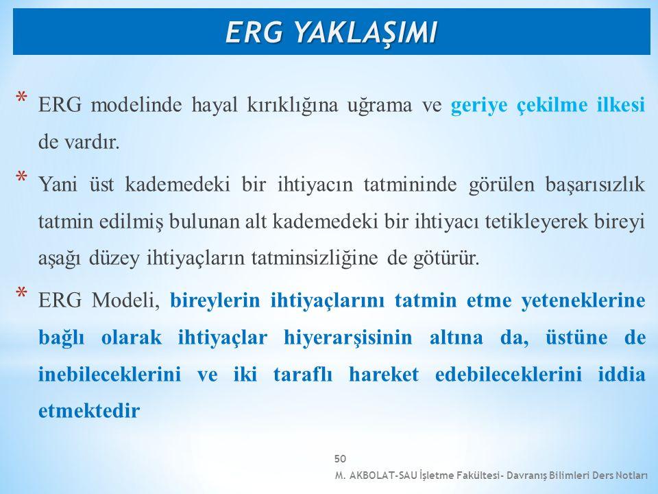 M. AKBOLAT-SAU İşletme Fakültesi- Davranış Bilimleri Ders Notları 50 * ERG modelinde hayal kırıklığına uğrama ve geriye çekilme ilkesi de vardır. * Ya