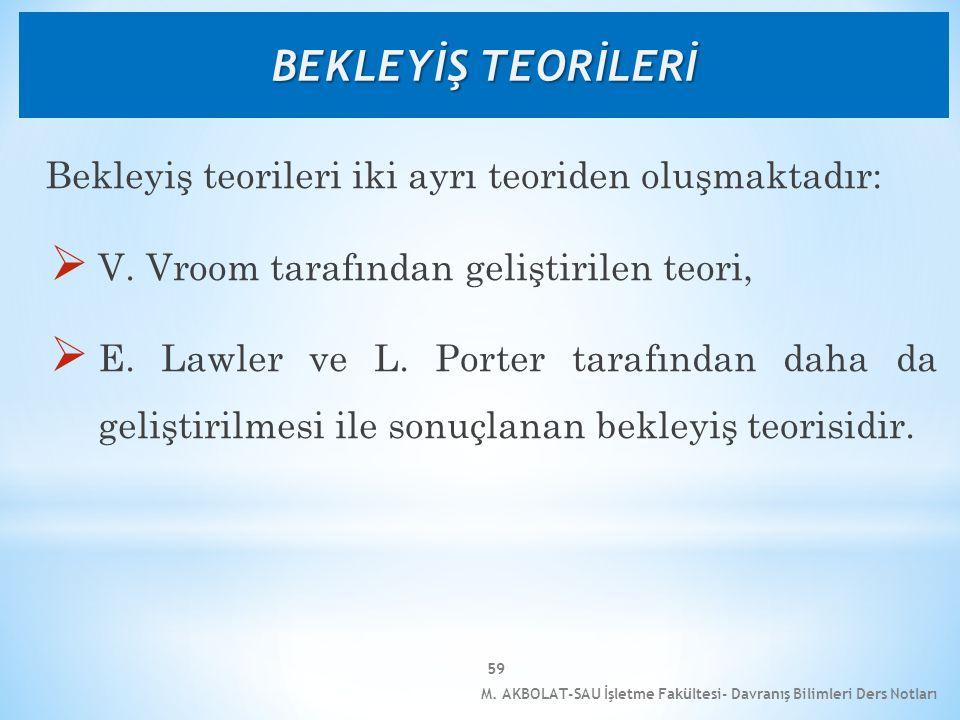 M. AKBOLAT-SAU İşletme Fakültesi- Davranış Bilimleri Ders Notları 59 Bekleyiş teorileri iki ayrı teoriden oluşmaktadır:  V. Vroom tarafından geliştir