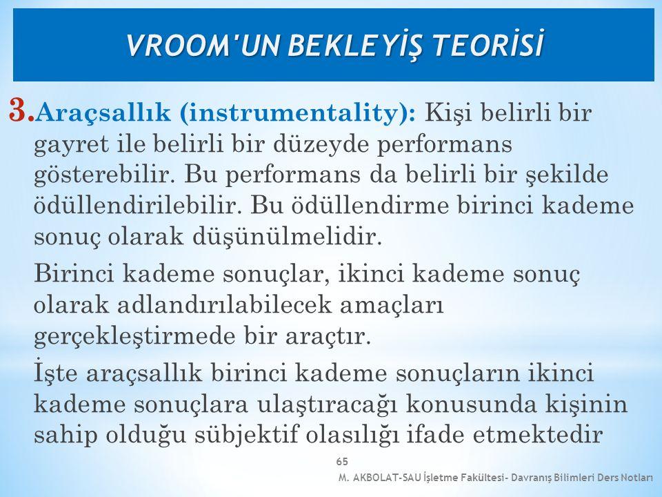 M. AKBOLAT-SAU İşletme Fakültesi- Davranış Bilimleri Ders Notları 65 3. Araçsallık (instrumentality): Kişi belirli bir gayret ile belirli bir düzeyde