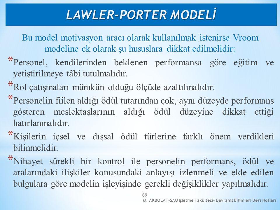 M. AKBOLAT-SAU İşletme Fakültesi- Davranış Bilimleri Ders Notları 69 Bu model motivasyon aracı olarak kullanılmak istenirse Vroom modeline ek olarak ş