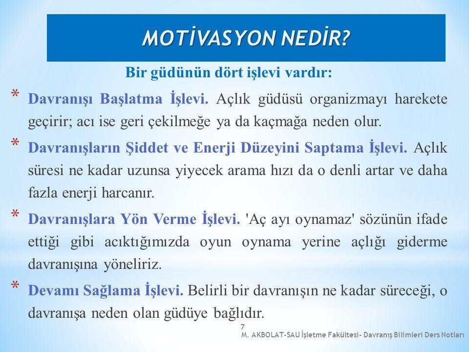 M. AKBOLAT-SAU İşletme Fakültesi- Davranış Bilimleri Ders Notları 7 Bir güdünün dört işlevi vardır: * Davranışı Başlatma İşlevi. Açlık güdüsü organizm