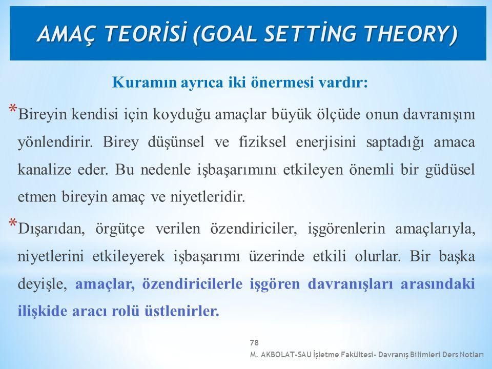 M. AKBOLAT-SAU İşletme Fakültesi- Davranış Bilimleri Ders Notları 78 Kuramın ayrıca iki önermesi vardır: * Bireyin kendisi için koyduğu amaçlar büyük