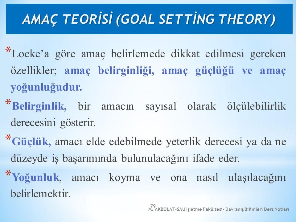 M. AKBOLAT-SAU İşletme Fakültesi- Davranış Bilimleri Ders Notları 79 * Locke'a göre amaç belirlemede dikkat edilmesi gereken özellikler; amaç belirgin