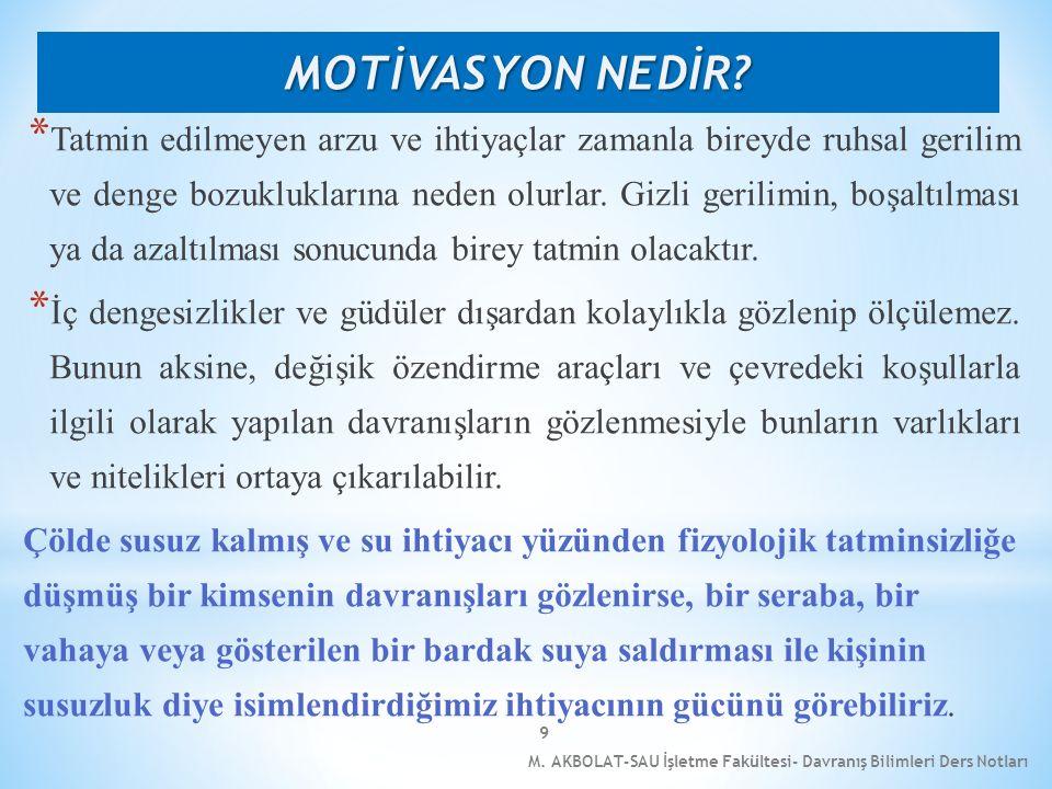M. AKBOLAT-SAU İşletme Fakültesi- Davranış Bilimleri Ders Notları 9 * Tatmin edilmeyen arzu ve ihtiyaçlar zamanla bireyde ruhsal gerilim ve denge bozu