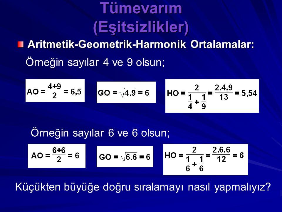 Tümevarım (Eşitsizlikler) Aritmetik-Geometrik-Harmonik Ortalamalar: İki pozitif reel sayının toplamlarının yarısı AO, çarpımlarının karekökü GO, ve 2