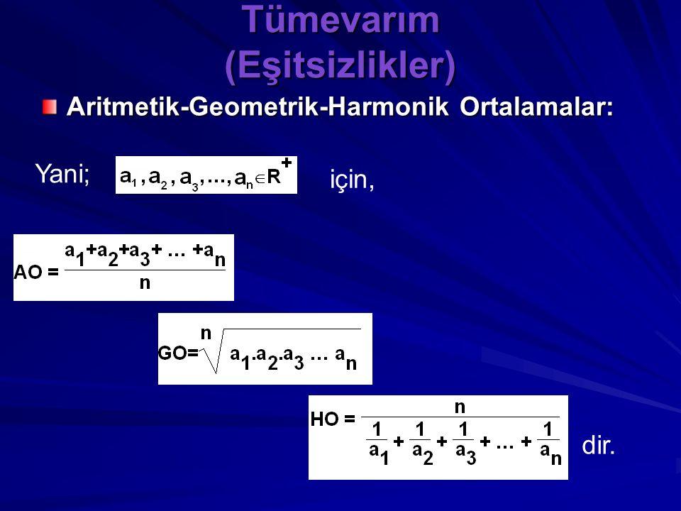 """Tümevarım (Eşitsizlikler) Aritmetik-Geometrik-Harmonik Ortalamalar: Tanım: n tane pozitif reel sayının, toplamlarının n e bölümüne """"Aritmetik Orta"""", ç"""