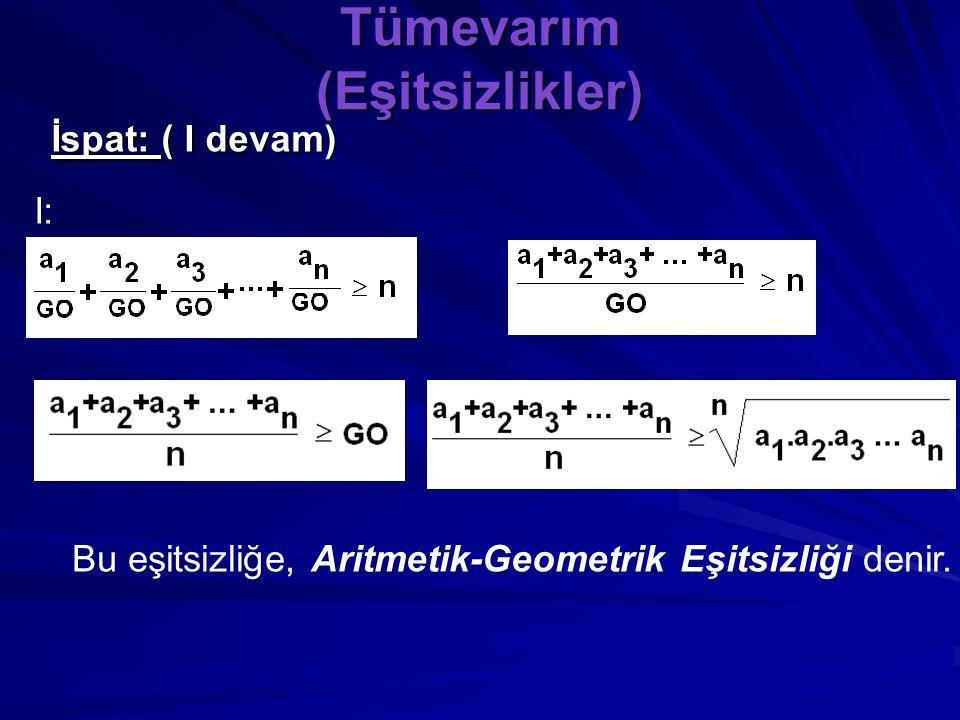 """Tümevarım (Eşitsizlikler) İspat: """"n tane pozitif reel sayının çarpımları 1 ise toplamları n den büyük ya da eşittir"""" teoremi gereğince; I:"""
